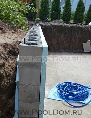 Опорная стенка из блоков с армированием